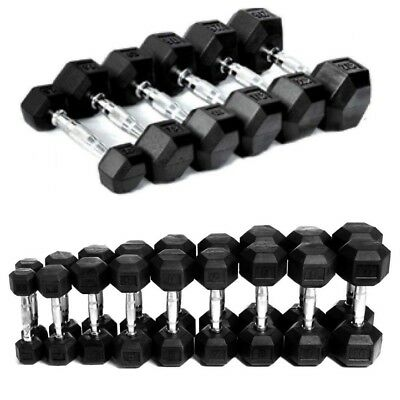Hex Dumbbell Rubber Encased Ergo Weight Set Hexagonal Gym Fitness Solid Workout