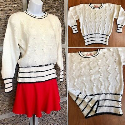 VTG 80S JACLYN Smith Zigzag Cable Knit Sweater Top Preppy