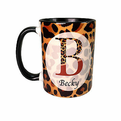 Personalised Ceramic Mug, Leopard Print Gift for Women, Coffee Cup