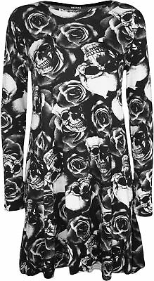 New Womens Monochrome Skull Roses Print Long Sleeve Top Ladies Swing Dress 8-26
