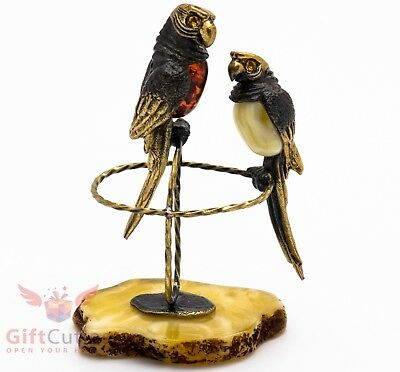 Solid Brass Amber Figurine of lovebirds couple of Parrots IronWork
