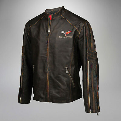 New Mens Leather Featherweight Light Jacket (2005-2013 C6 Corvette Logo) 3X 3XL