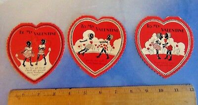 Vintage Black Americana ,  Valentine's Day  Cards ,group of 3 ,1930s