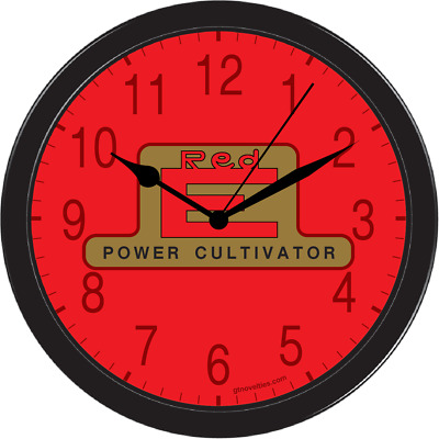Red E Power Cultivator Vintage Garden Farm Tractor Large Black Clock 10inch Part
