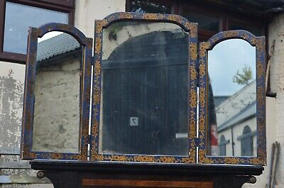 Antique Hand Painted Blue Yellow Flower Triple Dressing Table Chinoiserie Mirror