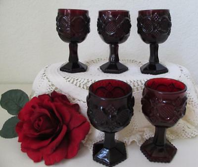 """Lot of 5 Avon Cape Cod 1876 Ruby Red Cordial Glasses Stem Small Wine Juice 4.5"""""""
