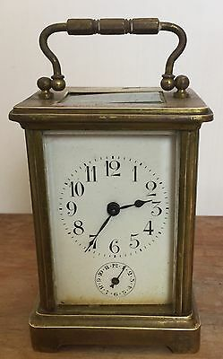 "Brass Case Enamelled Face Alarm Timepiece Carriage Clock GWO 4.5""H 3""W 2.5""D"