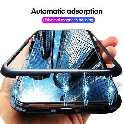 For Xiaomi Redmi Note 5 6 Magnetic Adsorption Metal + Tempered Glass Case Cover