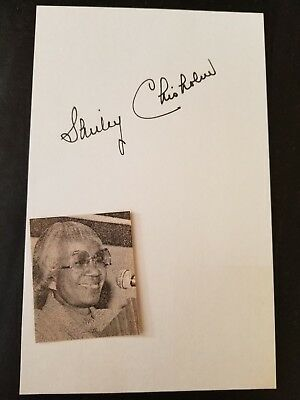 Congresswoman Shirley Chisholm Signed 5X8 index card Signature Autograph
