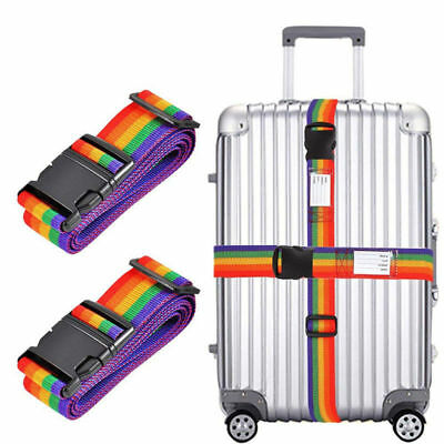 2PCS Adjustable Travel Luggage Suitcase Lock Safe Belt Strap Baggage Tie Rainbow