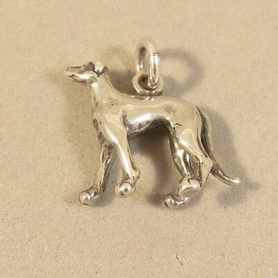 .925 Sterling Silver 3-D GREYHOUND CHARM NEW Dog Breed Puppy Pet Race 925 DG54