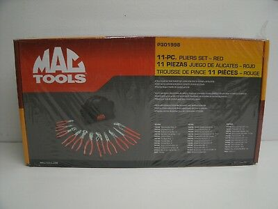 New Mac Tools 11 piece Red Pliers set  New P301998