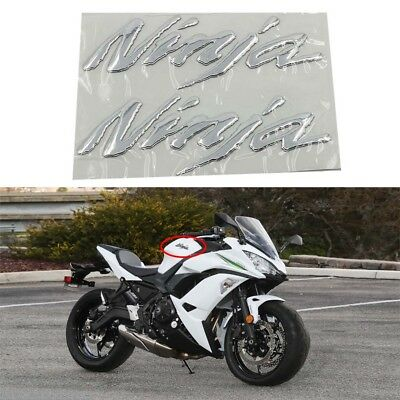2X 3D Tank Decal Sticker Emlbem For Kawasaki Ninja ZX-6R ZX-10R ZX-150RR ZX H2