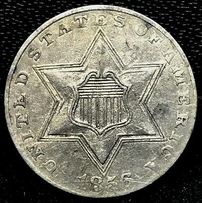 1856 3c Three Cent Silver Piece XF+/AU Detail~ Rare Old Type US. Coin.