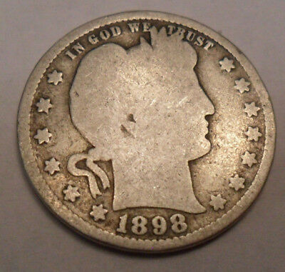 1898 P Barber Quarter   *90% SILVER*   *AG OR BETTER*   **FREE SHIPPING**
