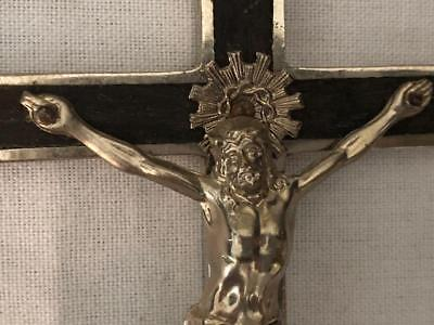 "Antique  Large  6""  Crucifix With Skull And Crossbones Carmelite Nuns Or Priests"