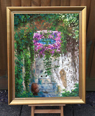 """Cottage garden SHRUBS Plant Spring flowers Oil Painting 20""""x26"""" recently painted"""