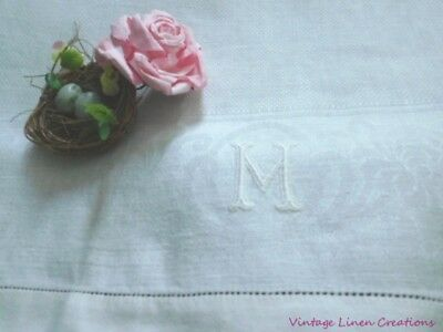 AnTiQuE  DAMASK Huck LINEN * MONOGRAM M * Vintage TEA TOWEL * Hand Towel