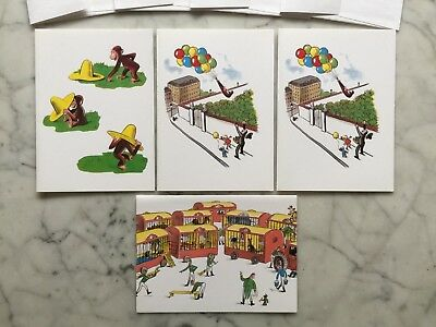 Lot 4 Unused CURIOUS GEORGE Blank Writing Cards with Envelopes