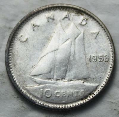 Canada 1953 Silver 10 Cents, No Shoulder Fold Variety