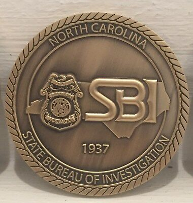 North Carolina State Bureau Of Investigation Challenge Coin Nc Sbi