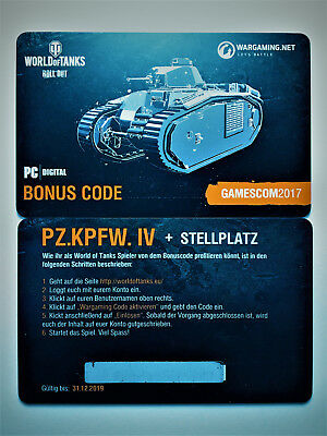 World of Tanks Bonuscode Pz.Kpfw. IV Schmalturm WoT Wargaming Code Gamescom