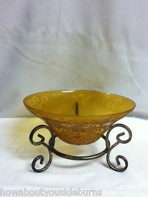 Home and garden brand amber glass on wrought iron display stand potpourri R6