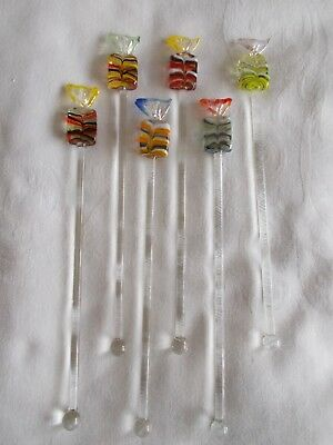'New' Set of 6 Glass Cocktail / Swizzle Sticks / Stirrers - SWEETS