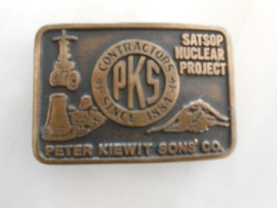 ANACORTES BRASS WORKS LTD BELT BUCKLE 1981 Peter Kiewit Satsop Nuclear Project