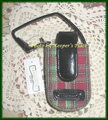 Longaberger Holiday Plaid Cell Phone Case Contact Lens Lipstick Faux Leather New