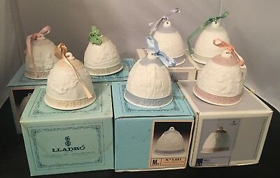 LLADRO Annual CHRISTMAS bell Ornaments Lot Of 7 w/ Boxes