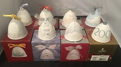 LLADRO Annual CHRISTMAS bell Ornaments Lot Of 8 w/ Boxes