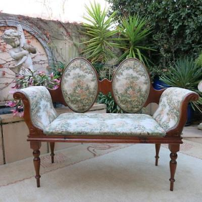 French Provincial Oak Tapestry Double Love Seat, Bedroom Arm Chair Vintage