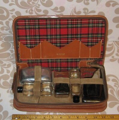 Old Serval Leather Travel Hygiene kit with plaid interior, approx. 12 x 6""