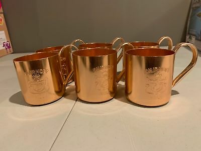 Lot of 6x Copper SMIRNOFF VODKA Moscow Mule Cups / Mugs Cocktail Bar