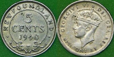 1940 Canada (C Mark) Silver Newfoundland Nickel Graded as Very Fine