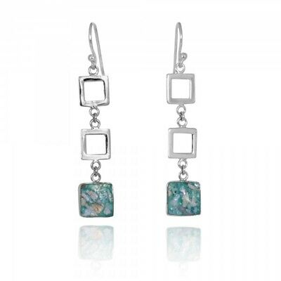 Handmade 925 Sterling Silver Earrings With Squares Drop Ancient Roman Glass