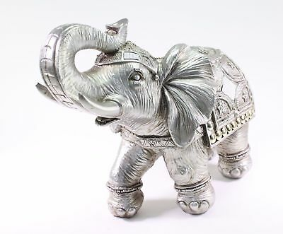 Feng Shui  Silver  Elephant Trunk Statue Lucky Figurine Gift Home Decor