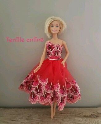 New Barbie clothes outfit princess wedding dress cocktail short fancy red pink