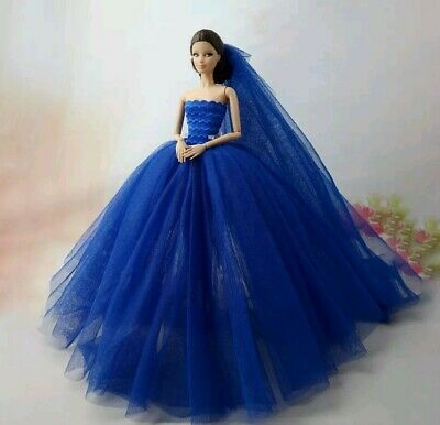 New Barbie clothes outfit princess wedding fashion dark blue fluffy shoes