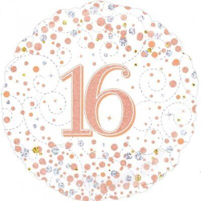 Party Supplies Birthday Adult Rose Gold Fizz 16 16th Sixteen 45cm Foil Balloon