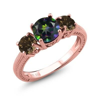 2.22 Ct Green Mystic Topaz Brown Smoky Quartz 18K Rose Gold Plated Silver Ring