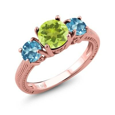 2.20 Ct Yellow Lemon Quartz Swiss Blue Topaz 18K Rose Gold Plated Silver Ring