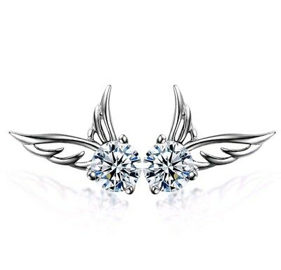 2018 Women 925 Sterling Silver Jewelry Angel Wings Crystal Ear Stud Earrings UK