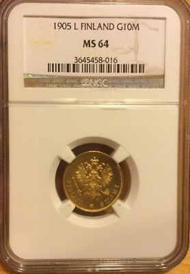Russia Finland 1905L 10 Markkaa Ngc Ms64 Gold