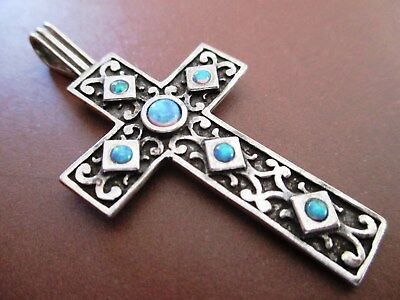 Original Ancient Large  Sterling Silver Cross With Opal Gemstone Pendant