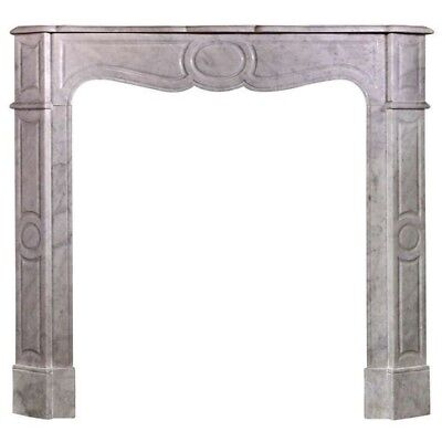 Small French Louis XV Pompadour Style Fireplace Mantel In Carrara Marble