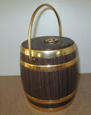 Retro Barrel Ice Bucket With Handle Faux Wood Look Gold Detail