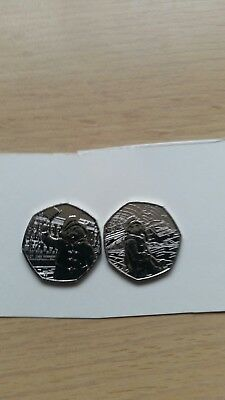 EASTER SALE OF PAIR  of 50p Paddington Bear  Coins 2018 Coin from sealed bags