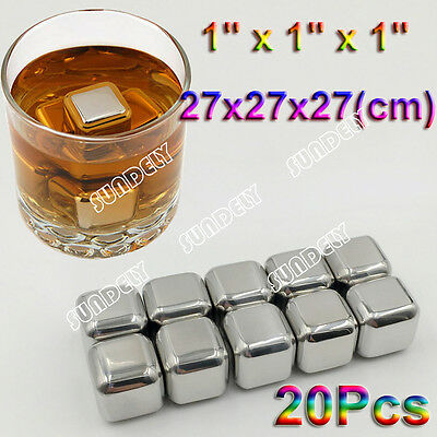 20x Reusable Square Stainless Steel Ice Cubes Whiskey Cooler Drink Chiller